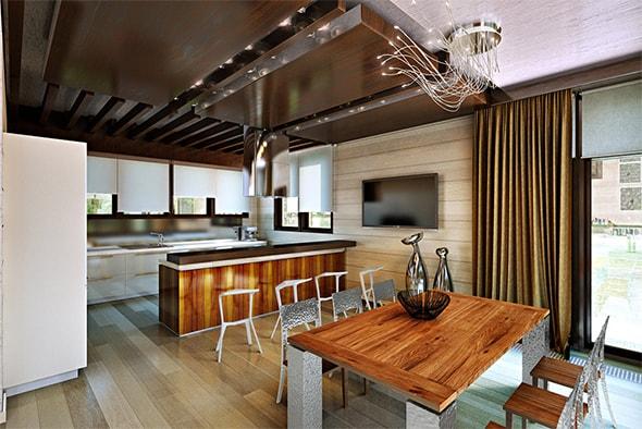 дизайн кухни в деревянном доме фото маленькой кухни в деревянном